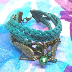 5/$25 Harry Potter Bracelet Teal Deathly Hallows